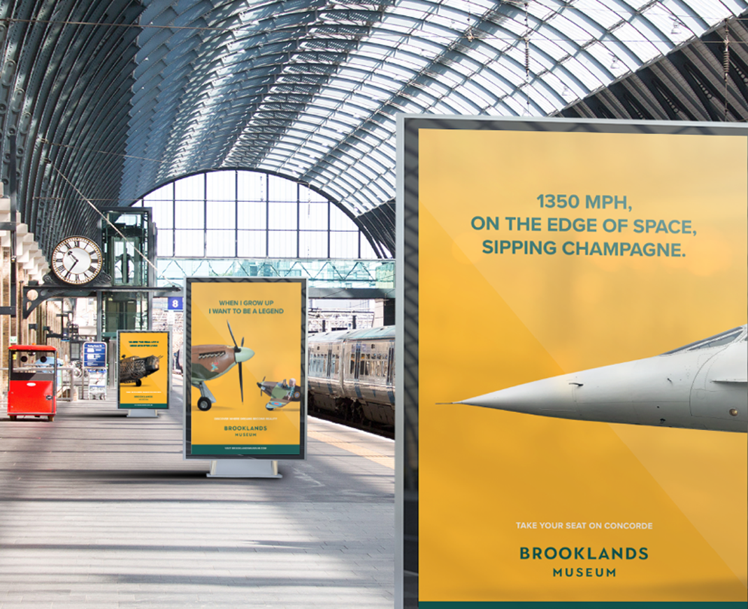 Brooklands Museum brand advertising in railway station