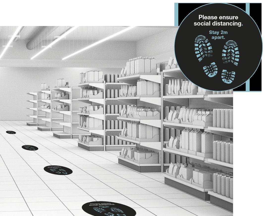 Social distancing vinyl floor graphics