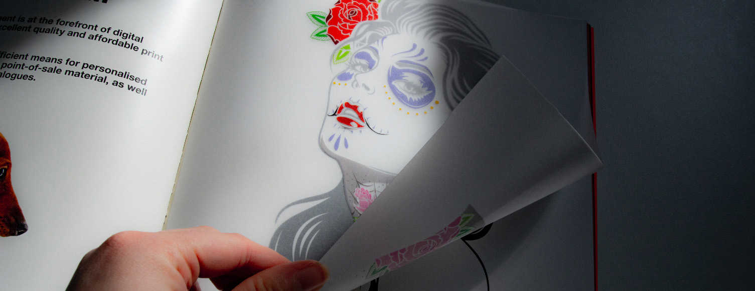 Tattooed lady printed onto transparent paper