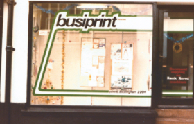 Busiprint Shop window in 1976