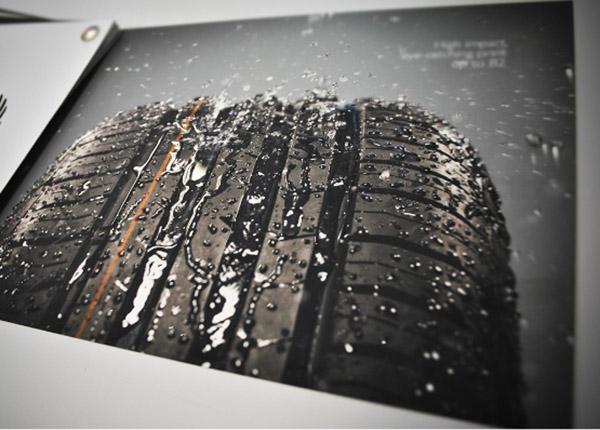 Tyre in a printed brochure