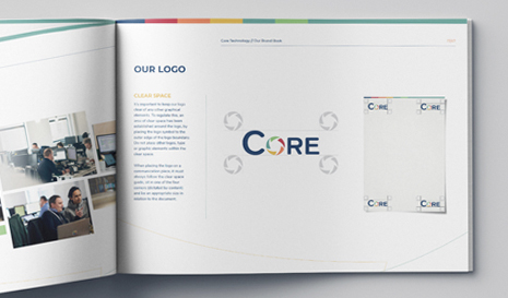 Core Technology Brand Book open on page
