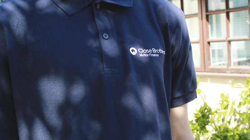 Close Brothers Motor Finance navy blue polo shirt