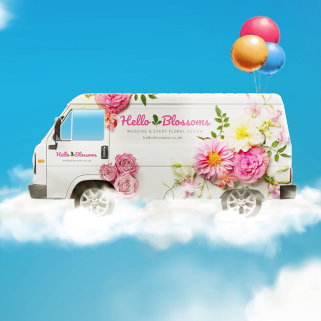 Close Brothers Motor Finance floating floral van on a cloud attached to balloons