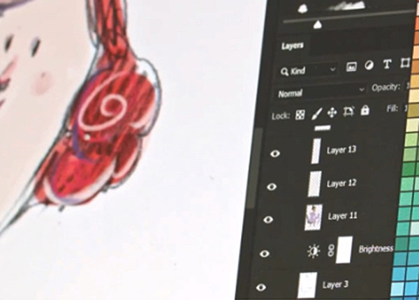 Illustration on screen in Photoshop
