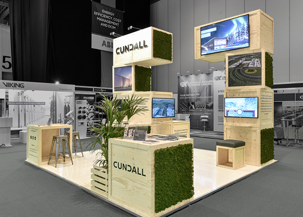 A wooden exhibition stand for Cundall