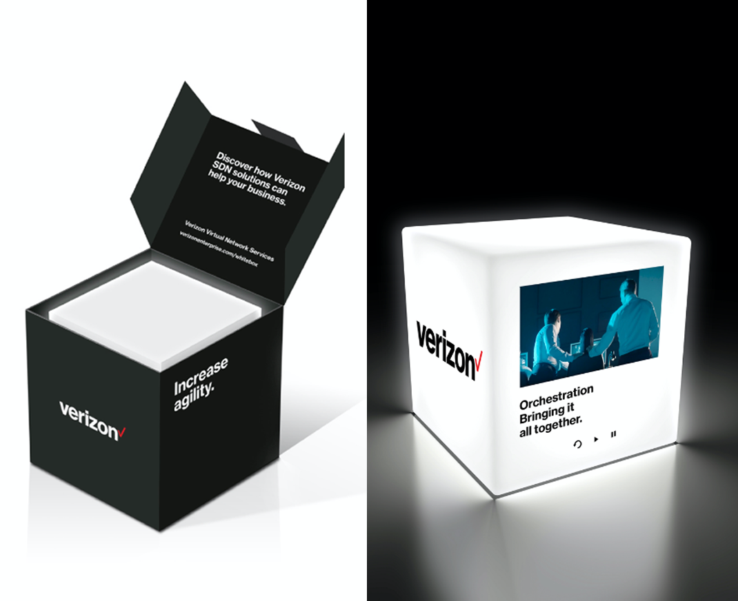 Verizon Orchestration cube video direct mail piece