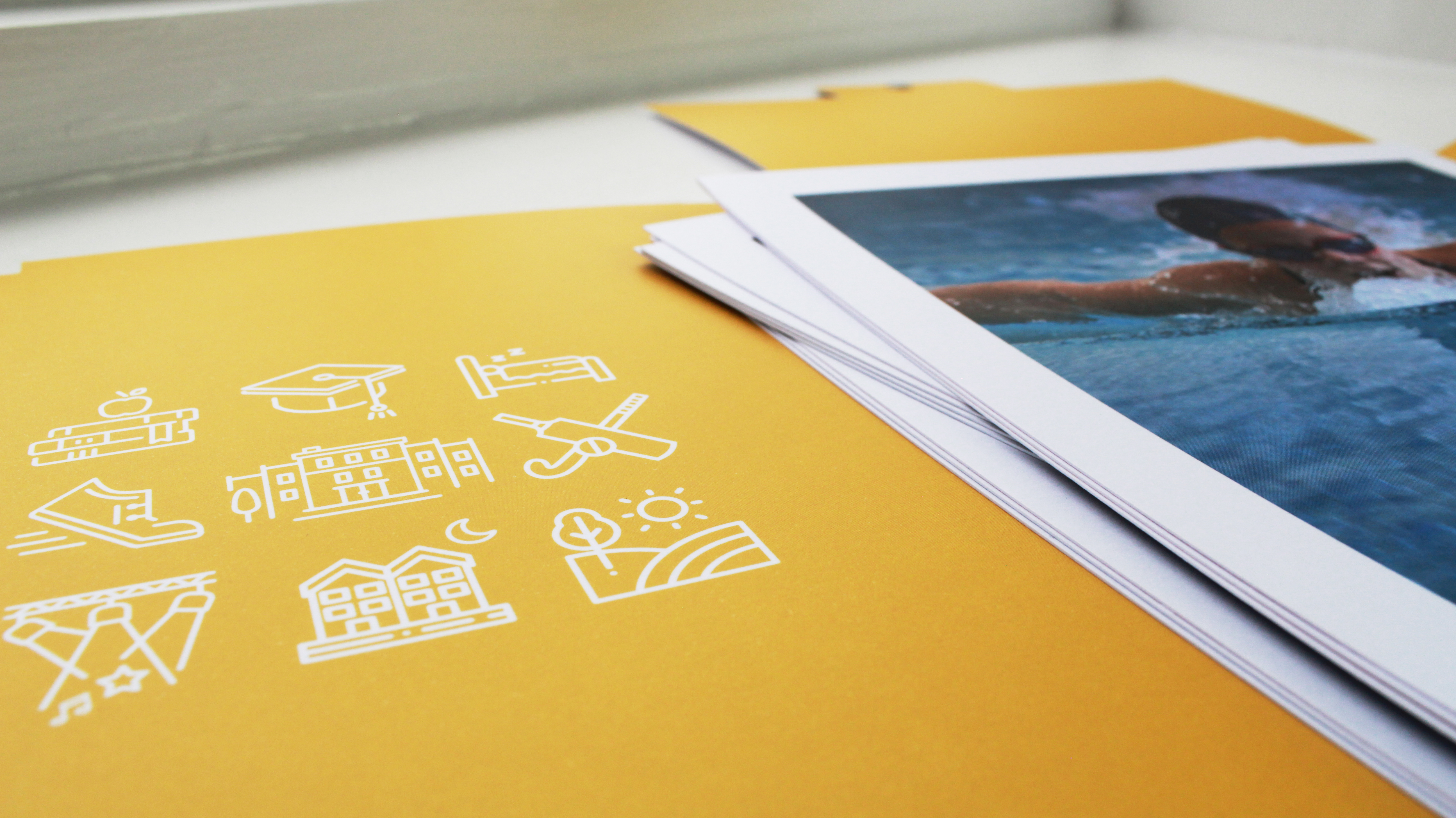 Yellow printed presentation folder