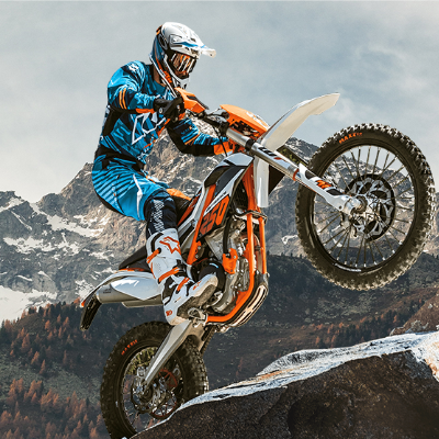 KTM motorcycle in mountains