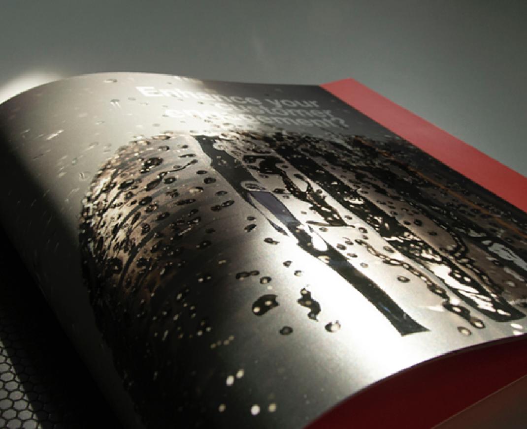 Gloss UV coating on a printed brochure