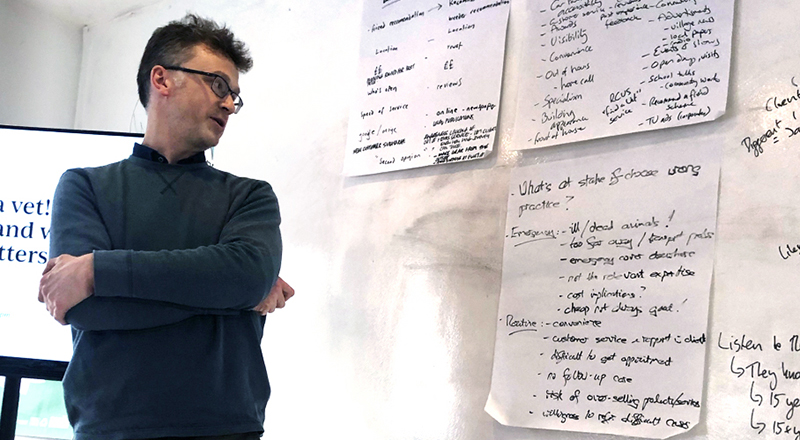 Presenting ideas after an exercise at a workshop