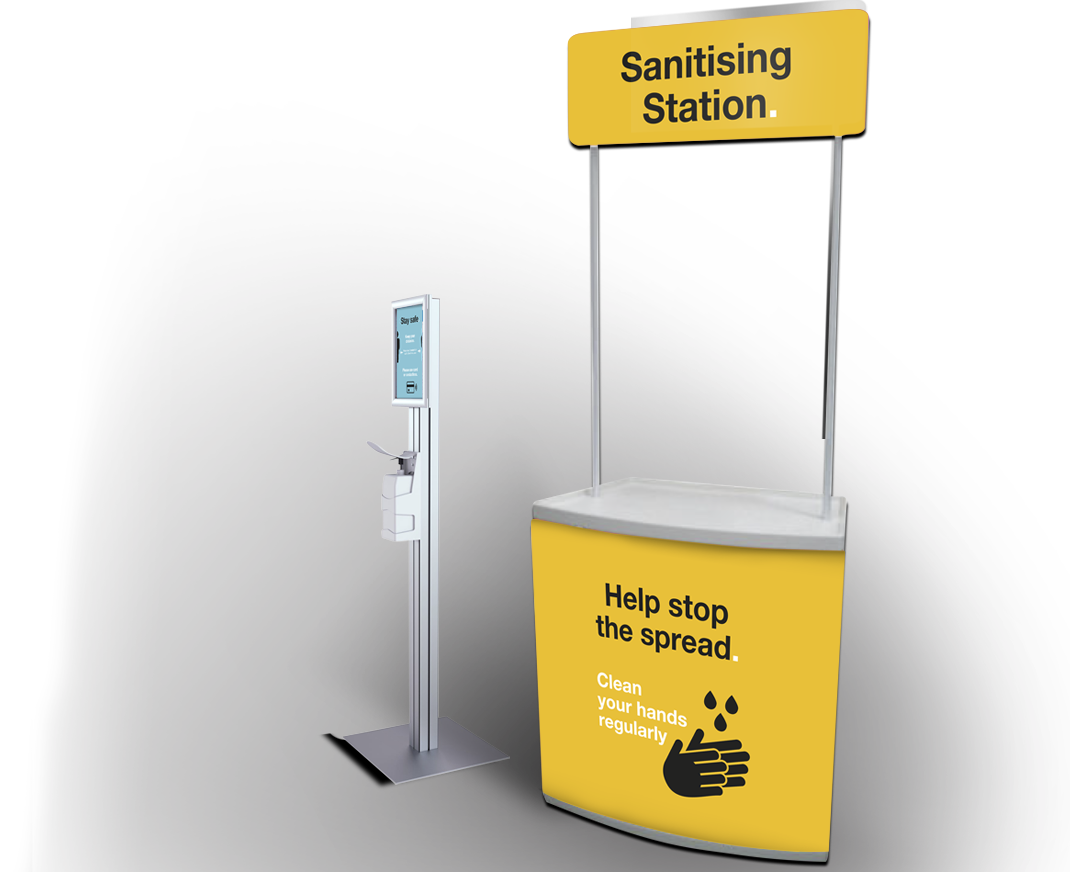 Social distancing sanitising station and dispenser