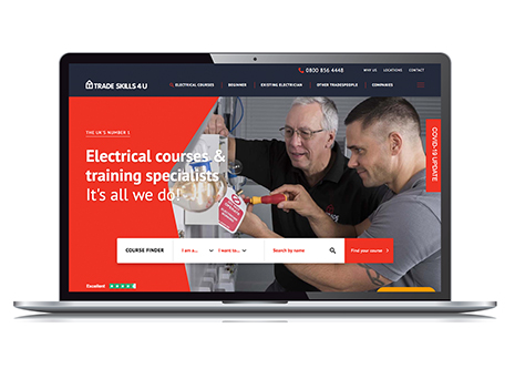 Tradeskills4U website on laptop screen