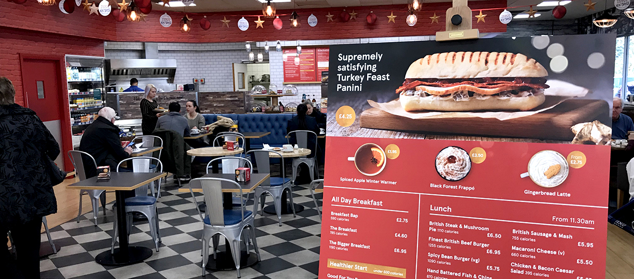 Seasonal Christmas printed Point of Sale (POS) in a Tesco Cafe