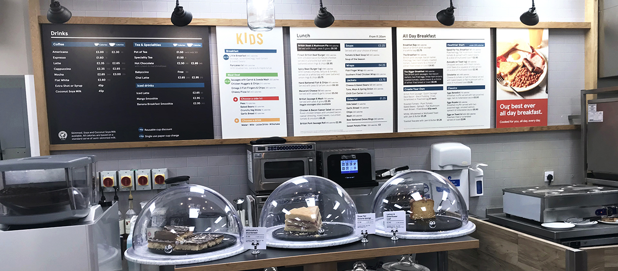 Printed menu display boards in a Tesco Cafe