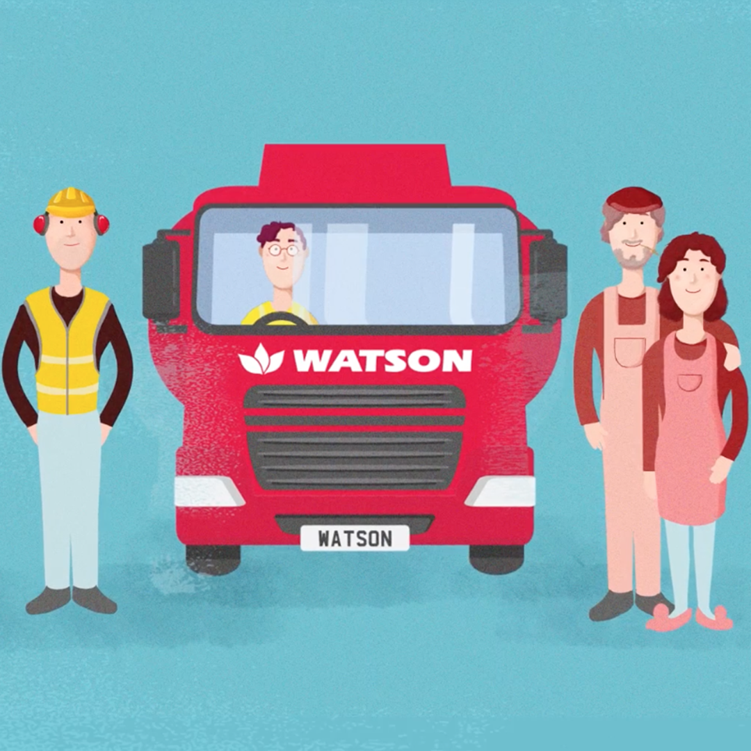 Watson Fuels animated red tanker and characters